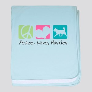 Peace, Love, Huskies baby blanket